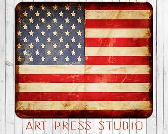 Grunge American Mouse Pad, USA Flag Mousepad, American Flag Mousepad