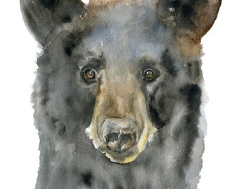Black Bear Watercolor Painting 11 x 14 Giclee Print Fine Art Reproduction