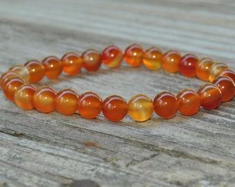 Mens Sacral Chakra Mala, Carnelian Mala, Second Chakra, Gemstone Therapy, Crystal Healing, Yoga Bracelet, Meditation, Reiki, Fertility