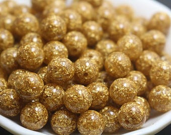 6-12mm Gold Foil Beads 20 pcs ( 6 mm 8mm 10mm 12mm )