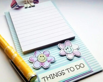 Flower Notepad Holder - Hanging Pad - Things To Do Notepad - Lilac Blue