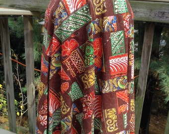 Vintage Cotton Batik Print Wrap Skirt