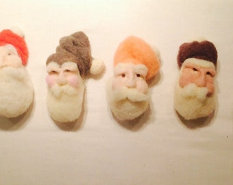 Santa set ooak needle felted ornaments