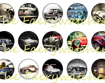 "Classic Car Magnets, Pins or Flatbacks 12ct. 1"" inch"