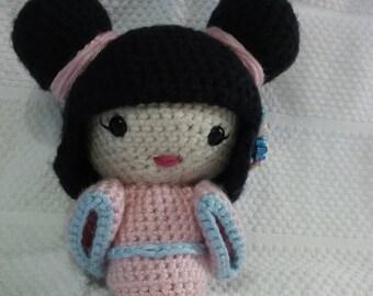 Crochet Kokeshi Doll Geisha Girl with Black Hair Pink and Blue Kimono Blue Obi Free USA Shipping Inexpensive Birthday Present Shower Gift