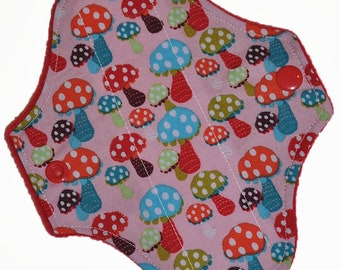 Liner Core- Polka Dot Shrooms Reusable Cloth Petite Pad- WindPro Fleece- 6.5 Inches