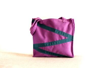 Cyclamen market or lunch bag with petroleum blue zig zag stripe christmas gift idea