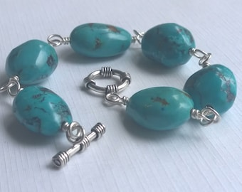 Turquoise Bracelet, Sterling Silver, Wire Wrap, Toggle Clasp, Large Beads, Pebbles, Nuggets