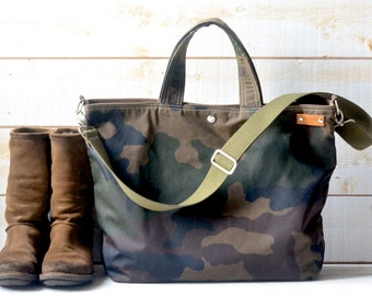 Camouflage Canvas tote,Waxed canvas tote,Messenger bag,diaper bag,adult bag, Camouflage tote,gift for her, bike bag,travel bag