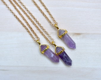 Gold Amethyst Pendulum Pendant Necklace/ Amethyst Pendulum Gemstone Necklace/ Pendulum Geometric Pendant Necklace/ Mineral Gem (EP-NTG14-AM)