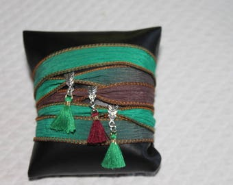 Ribbon Bracelet plum green ombre silk with tassels, shipping costs offered for france