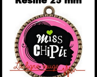 Brass toned Cabochon resin 25 mm - Miss snips (2412)