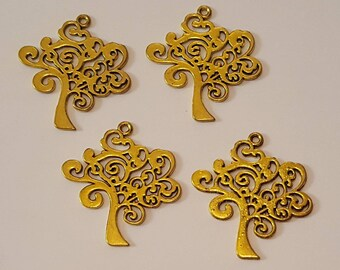 4 Large Tree Of Life Gold Tone Charms/Jewellery Making/Arts and crafts