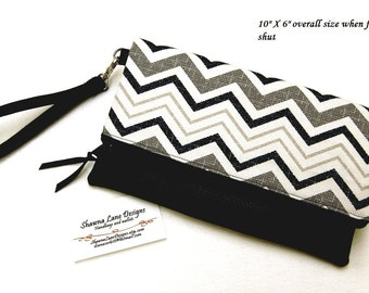 wristlet, clutch, black and white chevron handbag, faux leather, ready to ship gift, women's accessory, purse, cell phone accessory