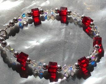 Red, Crystal and Silver Swarovski Crystal Beaded Bracelet