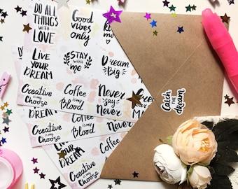 "Planner stickers ""Motivation lettering"" , hand words, sticker pack, bullet journal, inspiration"