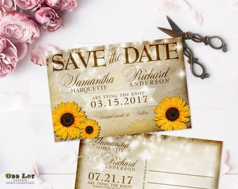 Rustic Sunflower Save the Date Postcards, Yellow Sunflower Save the Date, vintage rustic, PRINTABLE Digital File or Printed 4x6 Postcard
