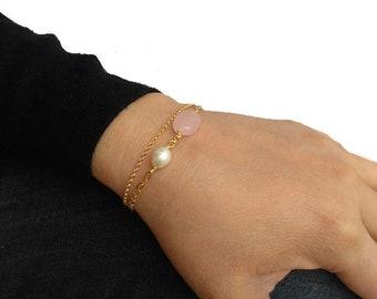 Silver bracelet, Beads bracelet, Pearl bracelet, Quartz bracelet, Minimal bracelet.