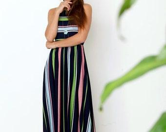 Multi Stripe Maxi Dress With Side Pocket