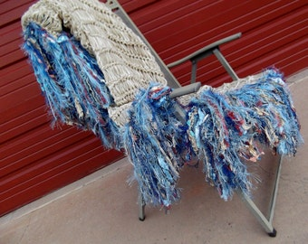 Blue, Gold, Terra Cotta Throw Blanket Afghan. Hand Knit Fringe Bedroom Home Decor