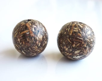 set of 2 organic 16mm wooden beads