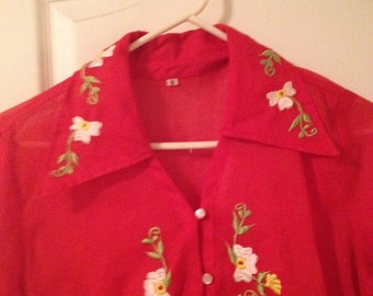 Vintage womens sheer red blouse with white and yellow flowers