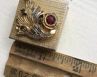Tiny Jewelry Pill Box Ruby Red and Gold