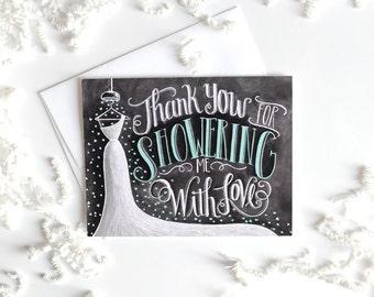 Bridal Shower Thank You Card, Bridal Thank You Card, Chalkboard Art, Wedding Thank You Card, Thank You Bridal Shower, Chalk Art,