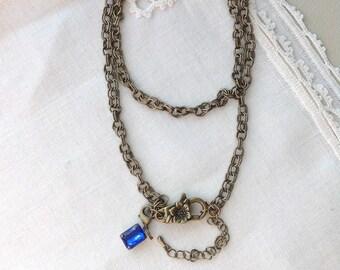 Floral Charm Necklace, Antique Brass Necklace, 24 inches, 61 cm