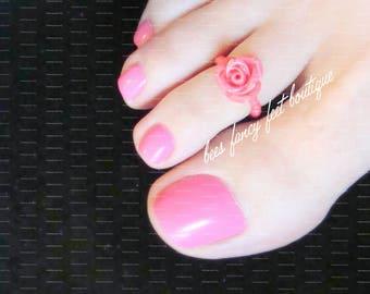 Rose Toe Ring, Mini Pink Rose Ring, Stretch Bead Toe Ring