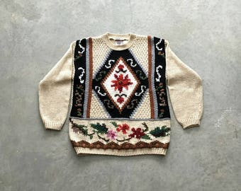 huntington ridge handknit sweater   90s pullover floral sweater   vintage pullover sweater   1211184