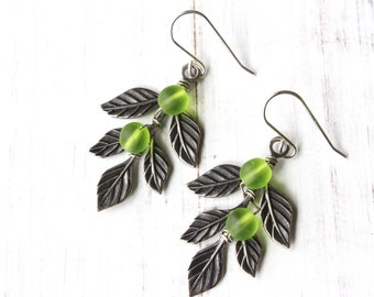 Olive Branch earrings, leaf earrings, green olives jewelry, peace branch, nature jewelry