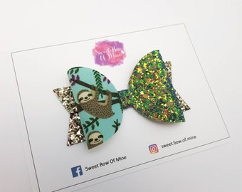 Sloth Bow | Headband or Clip | Glitter Fabric | hair accessories, headbands, hairclips, baby, girls