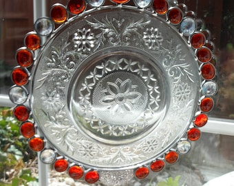 Stunning Sandwich Glass Suncatcher with Red Glass Gems and Angel Dangle