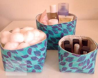NEW - Fabric Storage Box Set - Turquoise Leaves     -  Gift for Her, Gift for Wife, Gift for Women , Gift for Mum