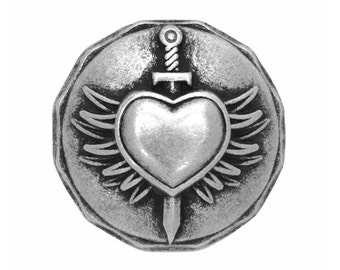 12 Braveheart 7/8 inch ( 22 mm ) Winged Heart Dagger Metal Buttons