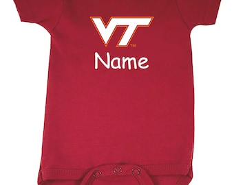 Virginia Tech Hokies Personalized Color Baby Bodysuit