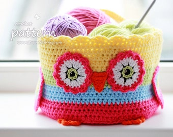 Crochet Pattern - Owl Basket (Pattern No. 057) - INSTANT DIGITAL DOWNLOAD