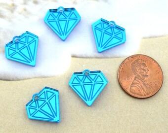 MINI BLUE DIAMONDS -  Mirror Charms - flat back - Laser Cut Acrylic