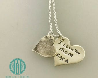 Fingerprint and Actual Handwriting necklace made from actual fingerprint and writing/signature
