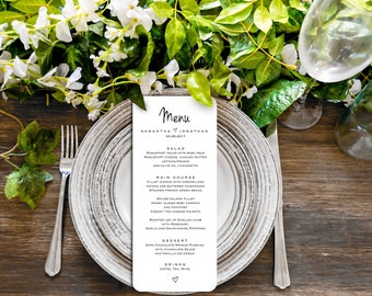 Wedding menu template, Printable wedding menu, menu cards, editable menu, rustic wedding menu, Instant download PDF, Dinner menu