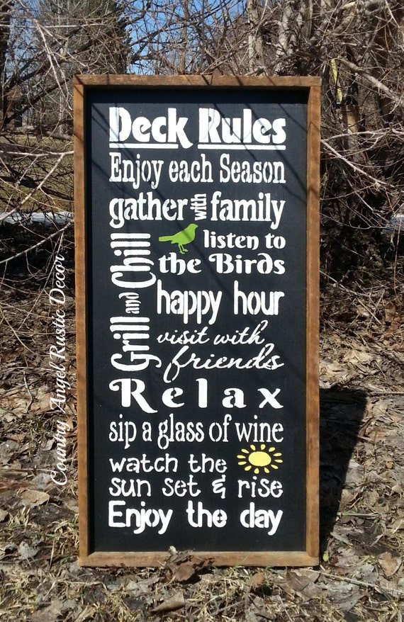 Super DECK RULES Rustic distressed Typography/Subway wood sign with UC14