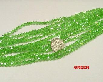 4mm green bicone glass beads