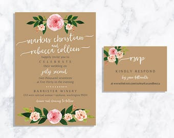 DIGITAL Blush Floral Wedding Invite + RSVP Card