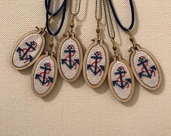 Cross stitch necklace / Cross Stitch - Navy anchor.