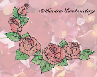 Machine embroidery design 'Diaphanous roses', Vintage, clothes