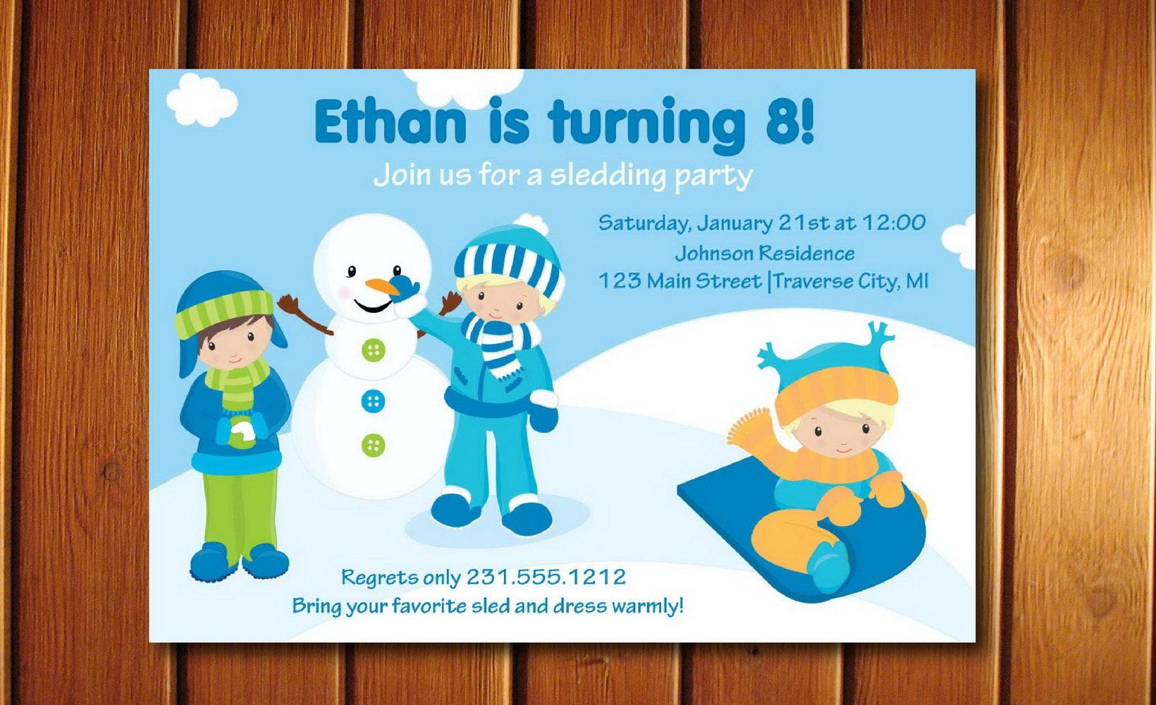 Boys Sledding Invitation Childrens Snow Party Invite