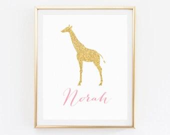 Giraffe nursery art, Name sign for nursery girl, Custom name art kids, Giraffe wall art nursery, Giraffe print, Nursery Name, Giraffe name