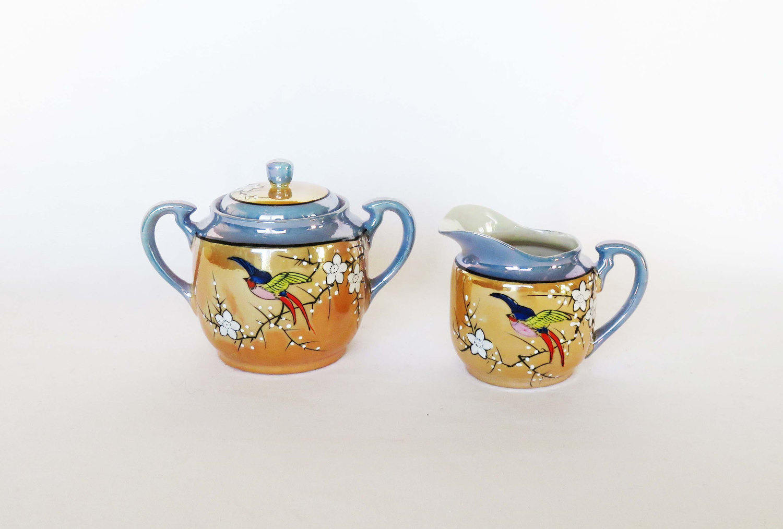 Japanese Creamer & Sugar Bowl Set TT Takito Opalescent