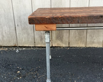 The Nickel Foundry Bench Reclaimed Wood Beam Rustic Bench Slab Bench Storage Bench Entry Bench Nickel Optional Finish